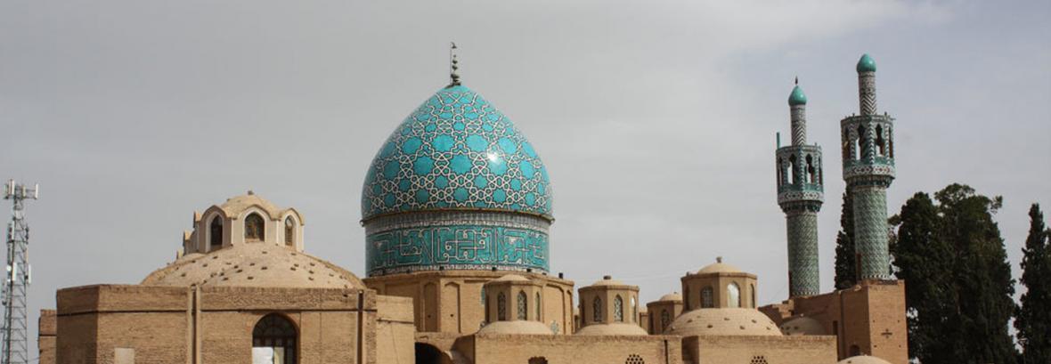 صحن میرداماد آستانه شاه نعمت الله ولی ماهان مرمت می گردد